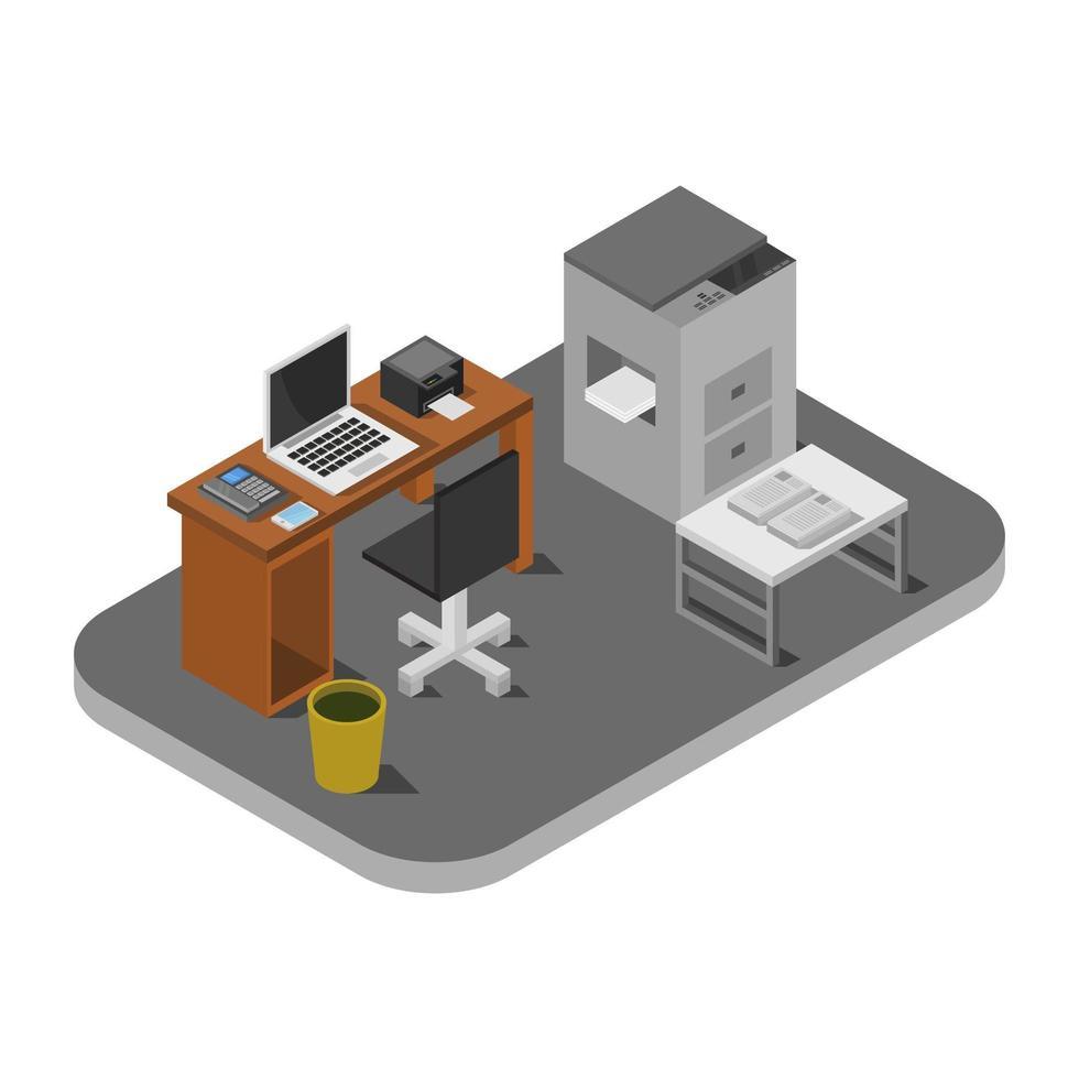 sala de oficina isométrica vector