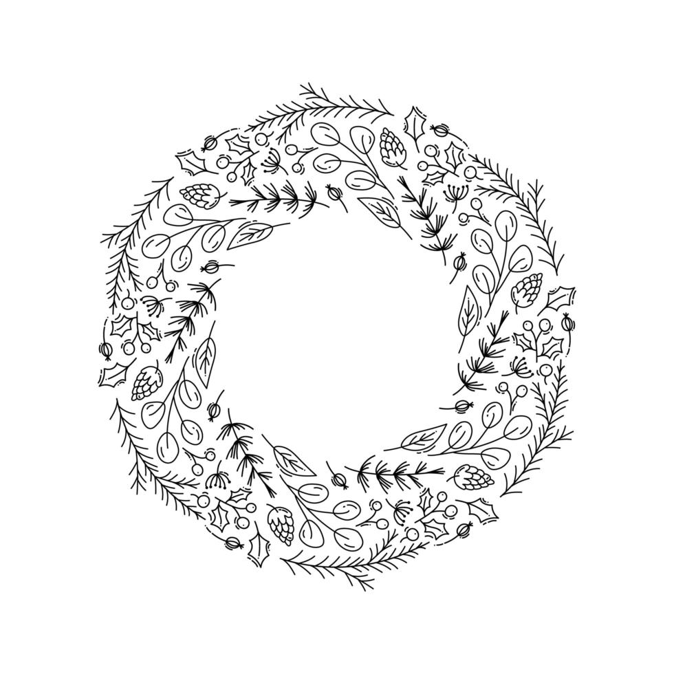 Christmas wreath outline with floral doodle elements vector