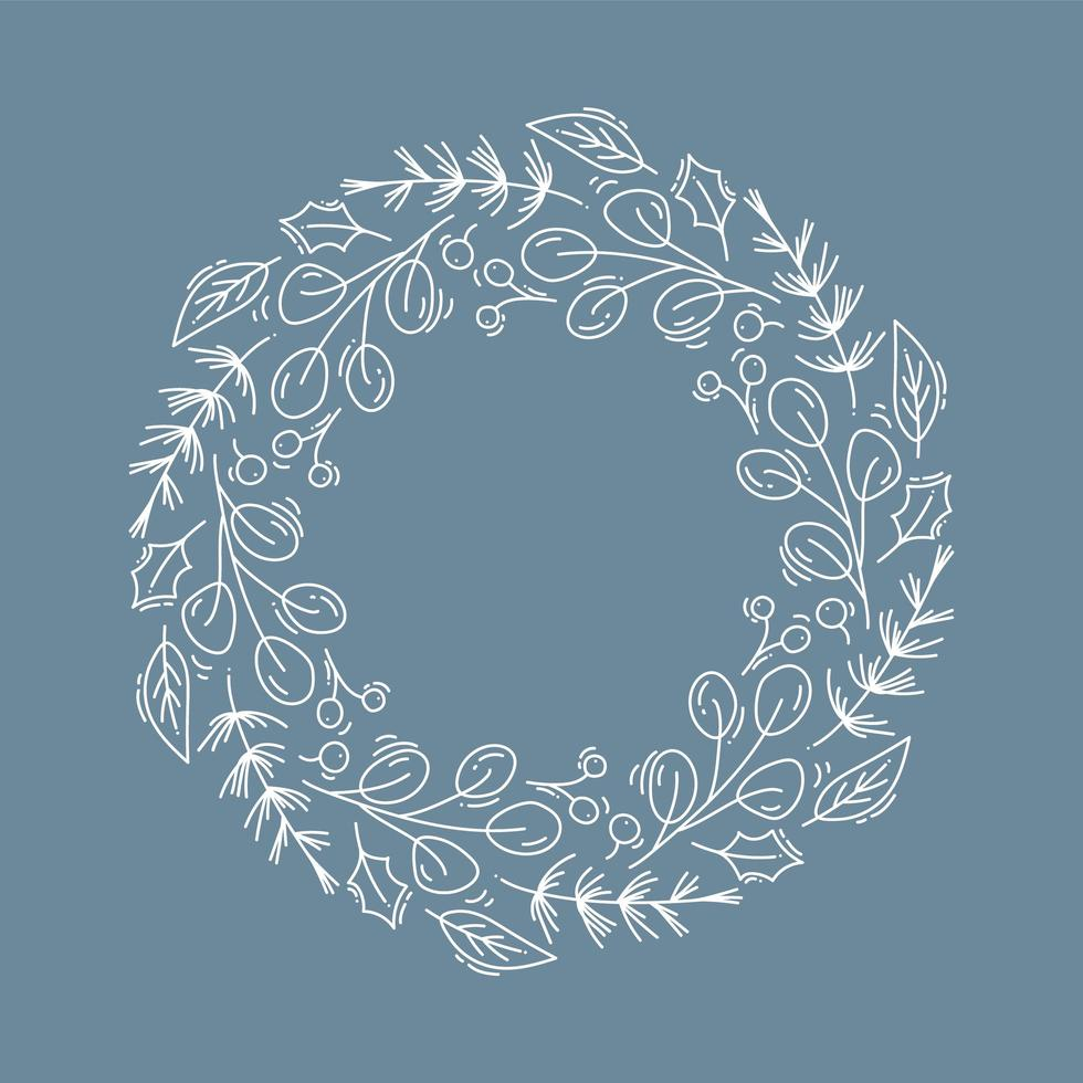 Christmas wreath outline with branches and holly vector