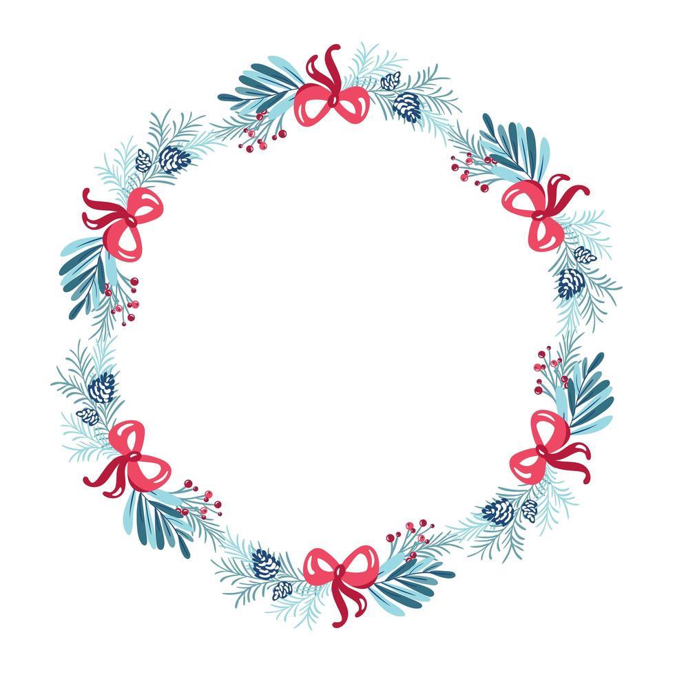 corona de navidad con arcos y hojas perennes vector