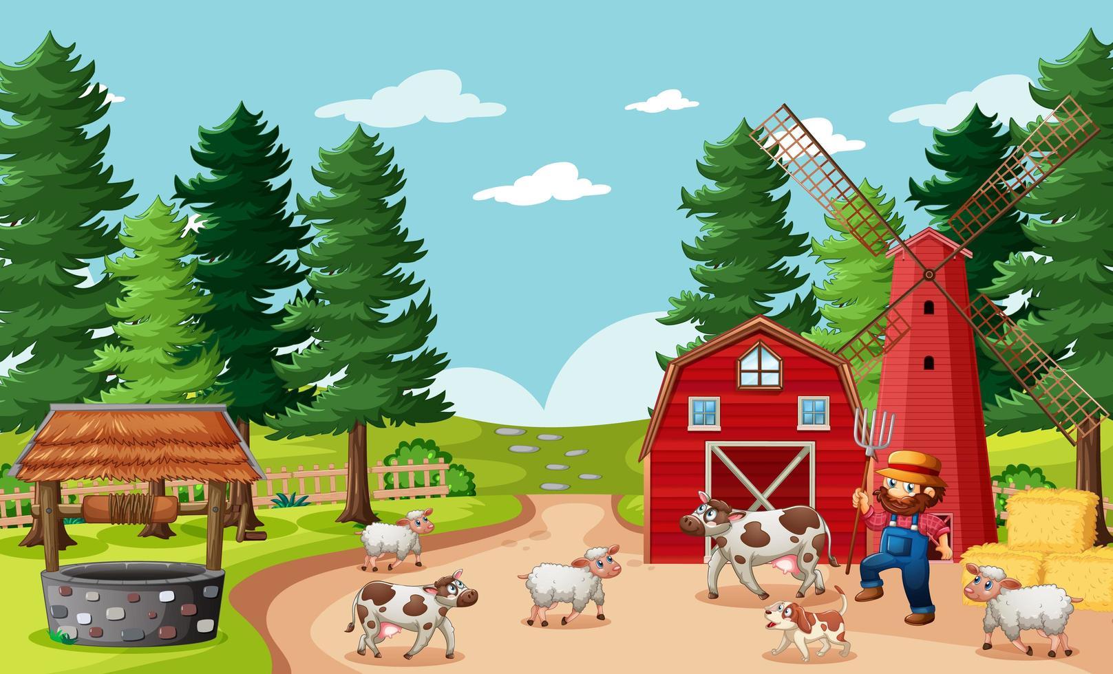granjero con animales en la escena de la granja. vector