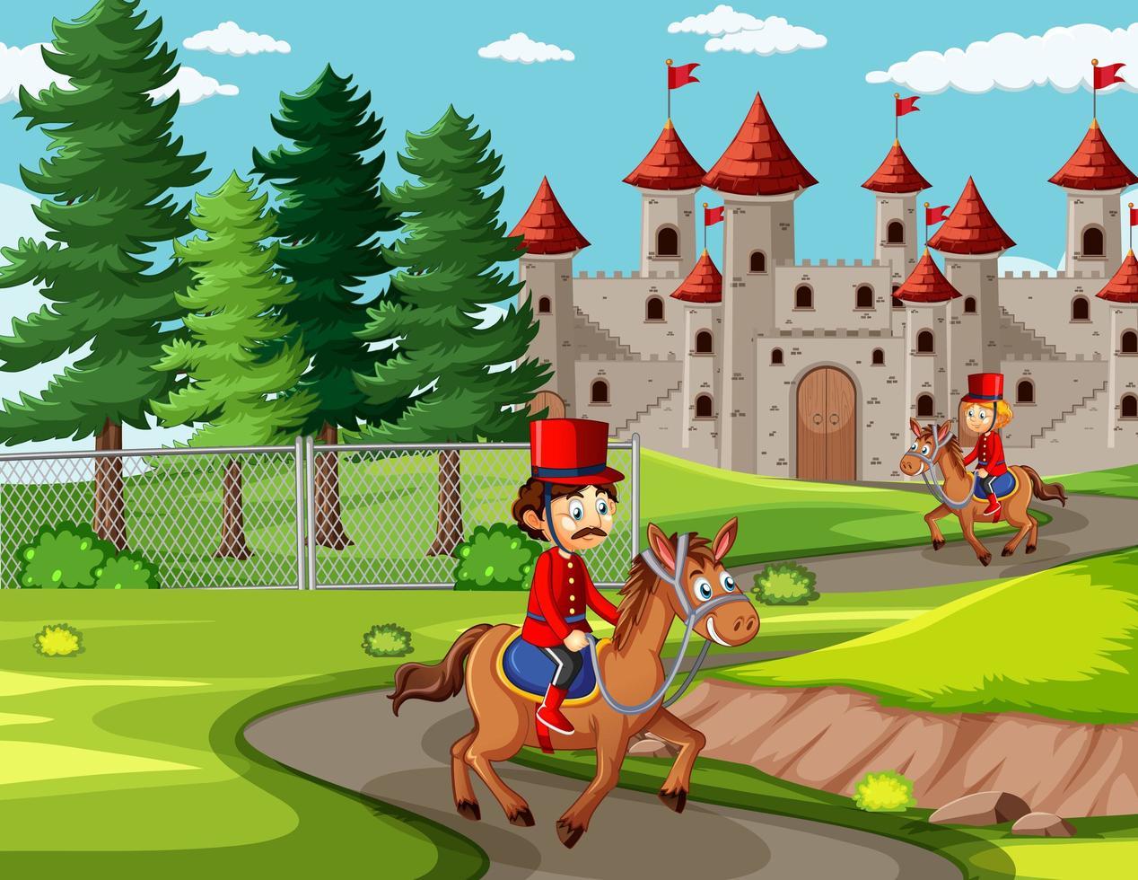 Escena de cuento de hadas con castillo y soldado de la guardia real. vector