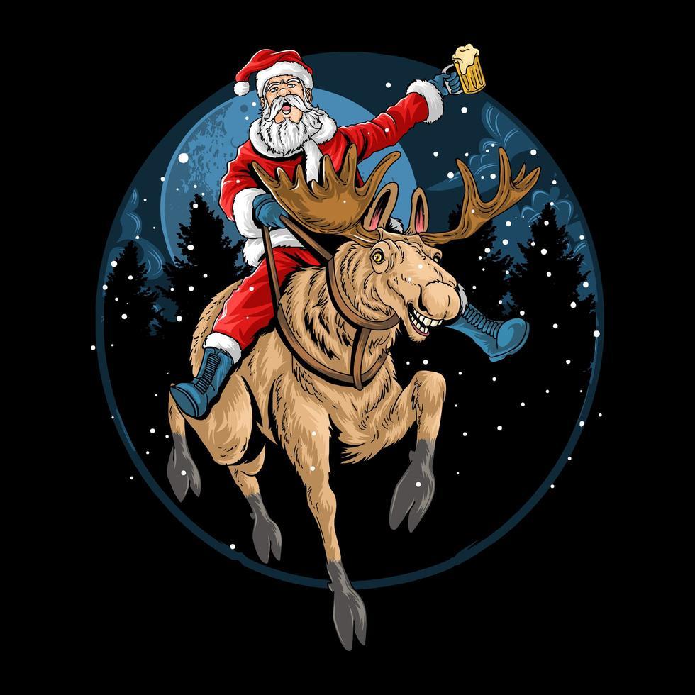 santa claus montando un reno de navidad vector