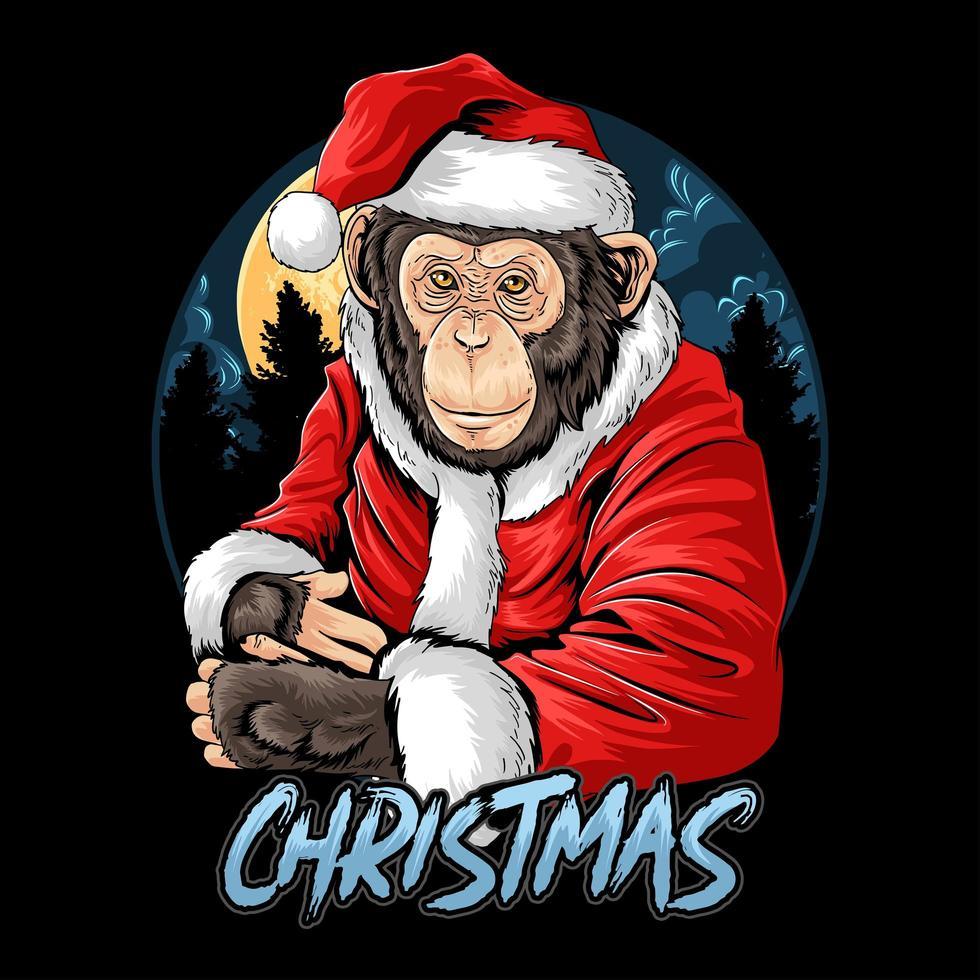 mono chimpancé de navidad vector