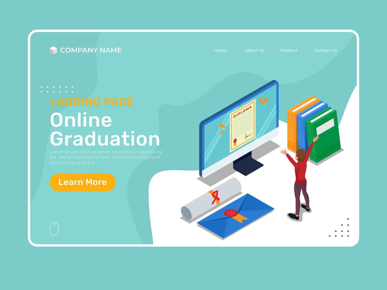 plantilla de graduación en línea con carácter isométrico vector