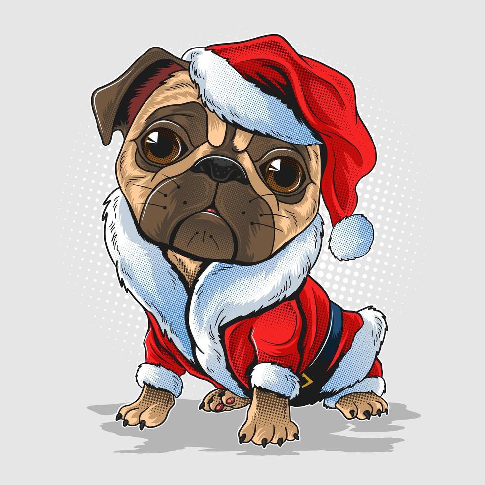 perro pug de navidad vector