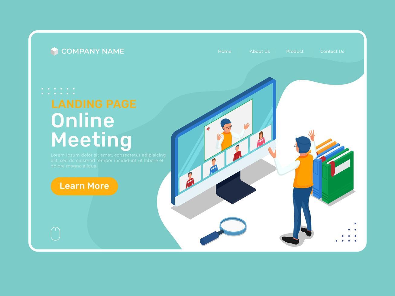 plantilla de reunión en línea con personajes isométricos vector