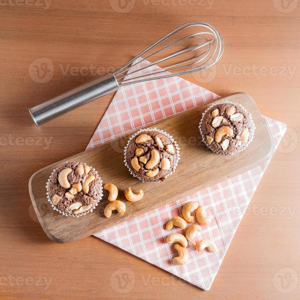 Chocolate Cake Brownies With Cashew nuts photo