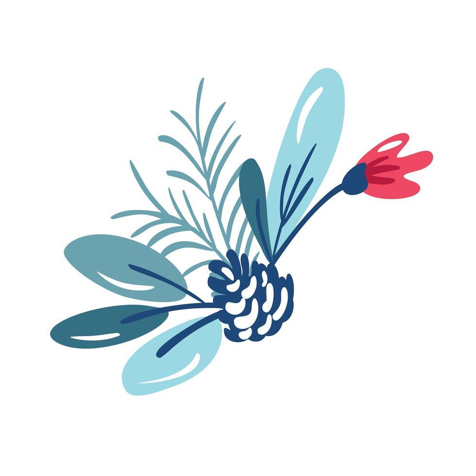 ramo floral navideño con piñas vector