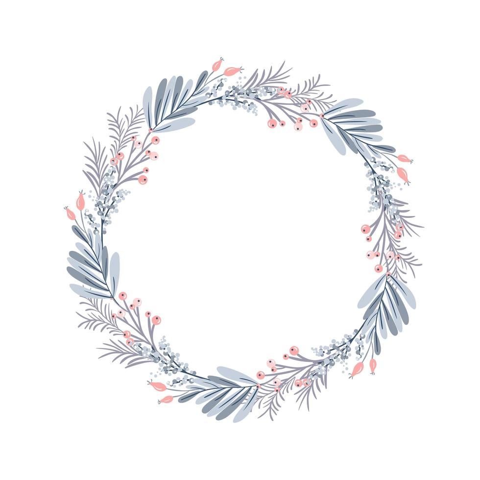 Christmas wreath and red berries on evergreen branches vector