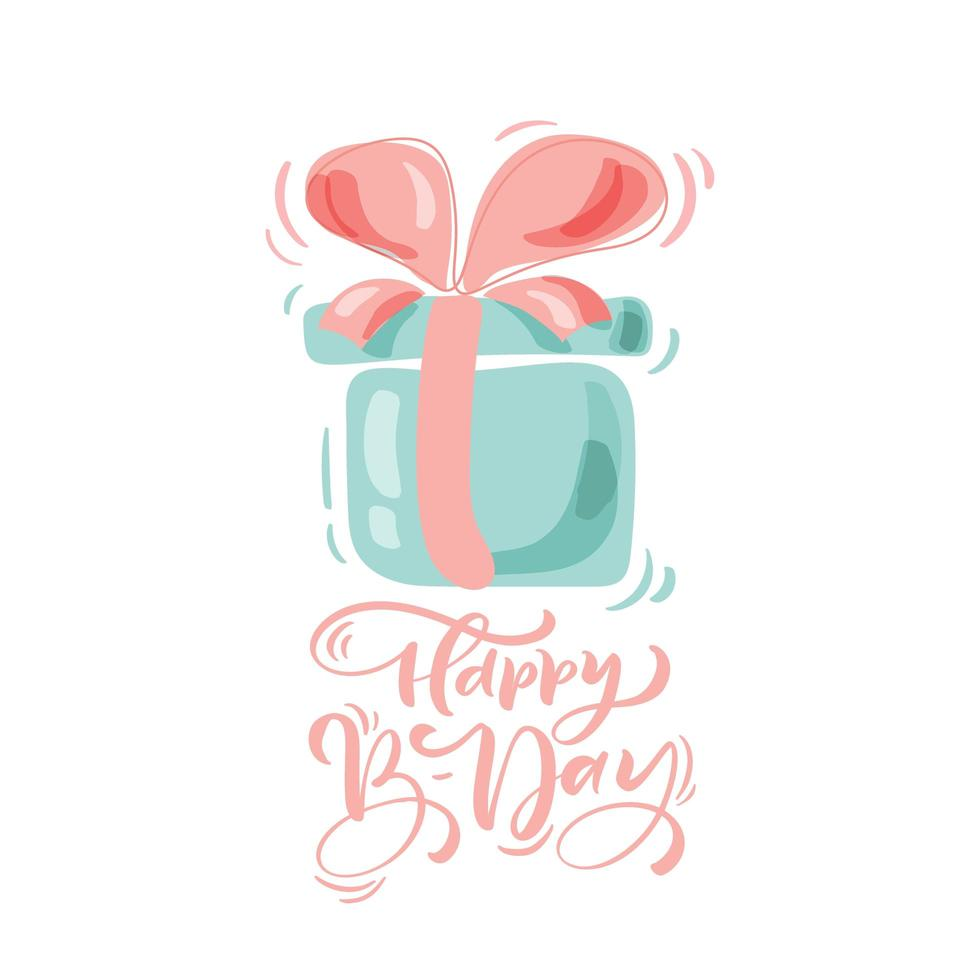 Happy Birthday calligraphic lettering text with present vector