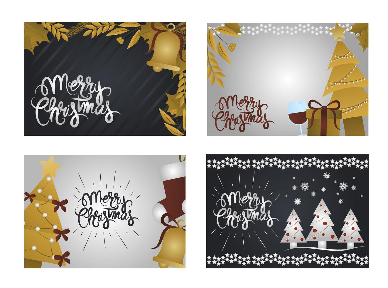 Set deluxe Christmas greeting cards vector