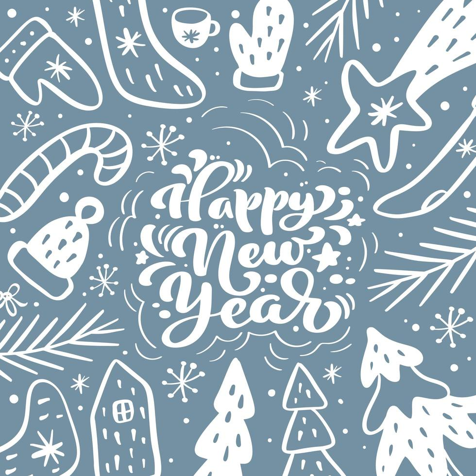 Happy New Year calligraphic lettering hand written text vector