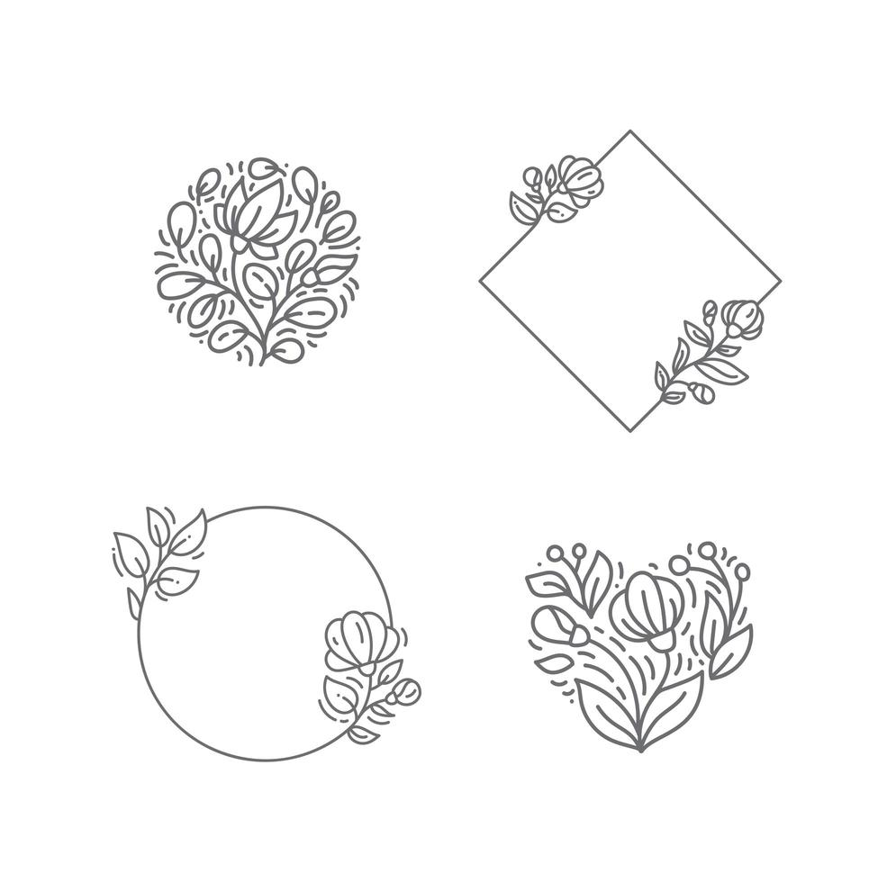 Geometric monoline square frame with flowers and plants items vector