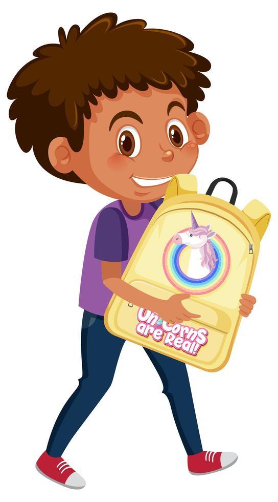 niño sosteniendo lindo personaje de dibujos animados mochila vector