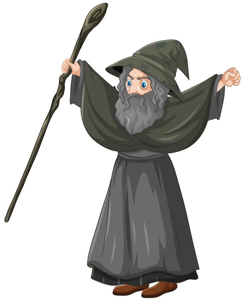 Old wizard holding staff vector