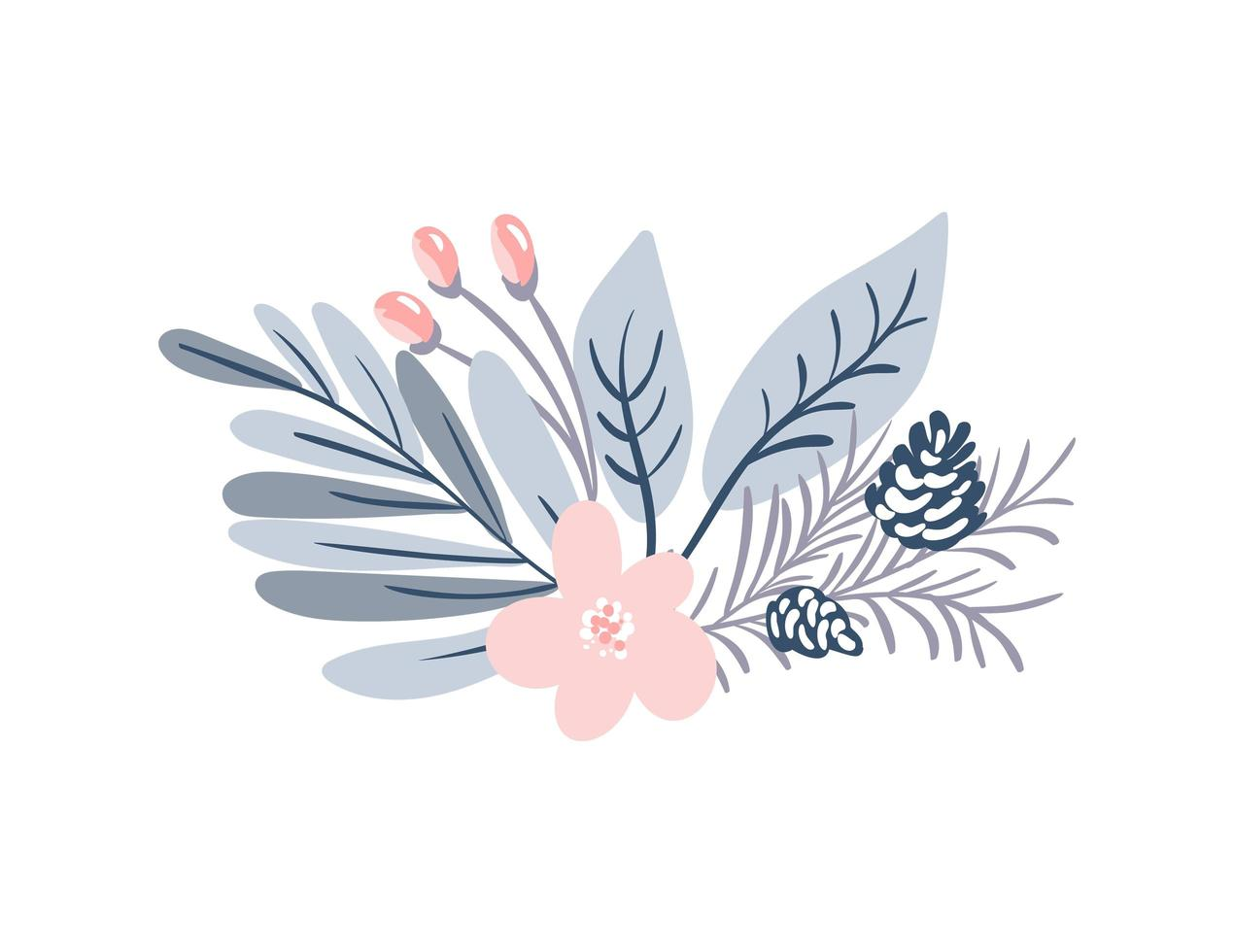 Pastel winter bouquet vector