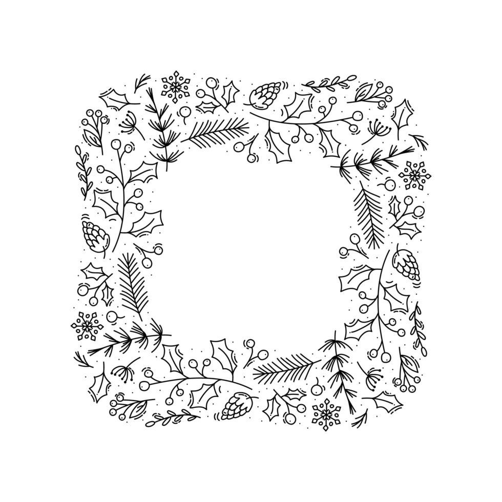 corona de navidad monoline cuadrada vector