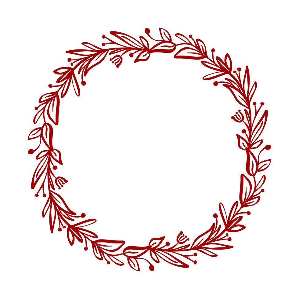 corona de flores de navidad roja y bayas en las ramas vector