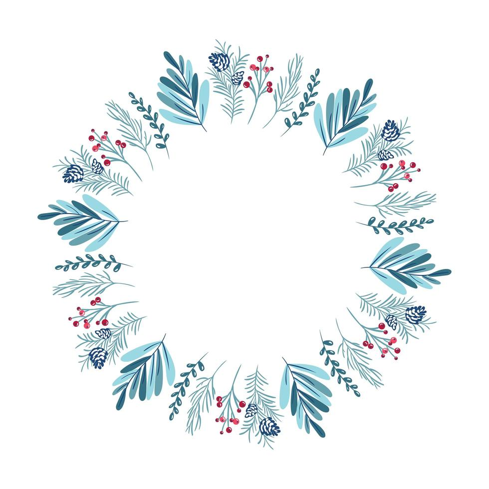 Christmas wreath with berries, pine cone and branches vector