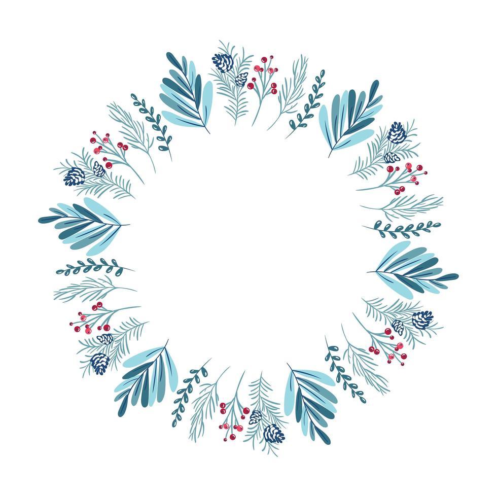 corona de navidad con bayas, piña y ramas vector