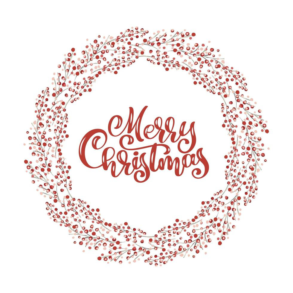 Red Christmas wreath with berries with Merry Christmas text vector