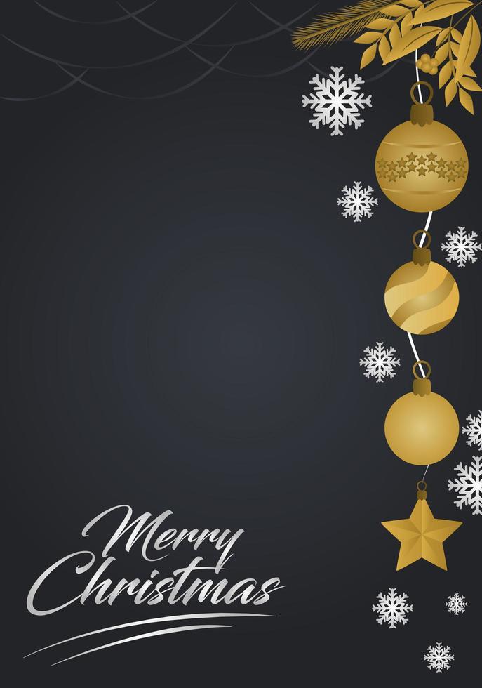Tarjeta de felicitación navideña de lujo con espacio de copia vector