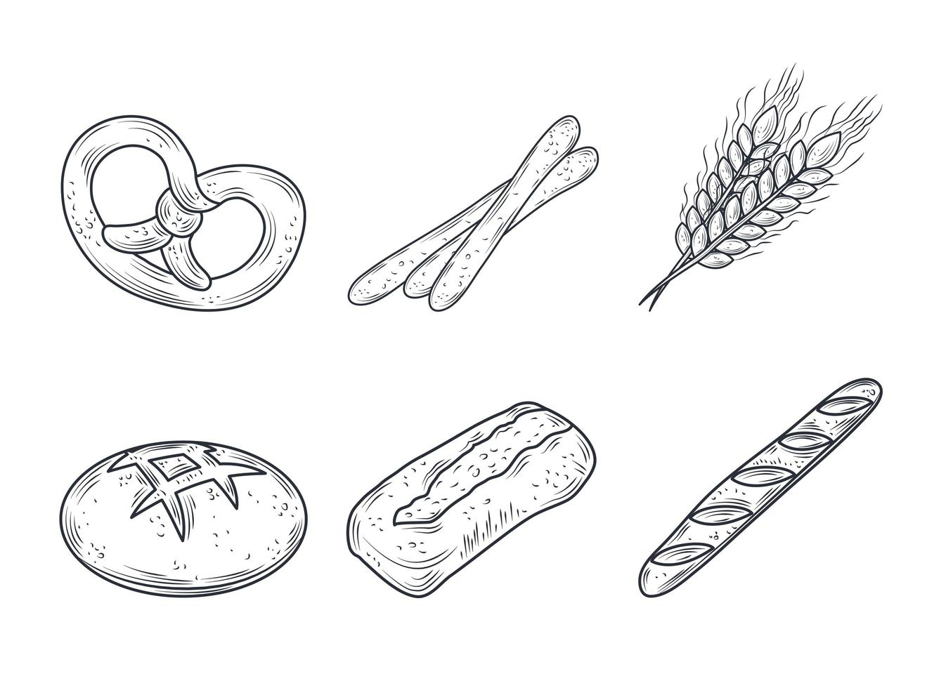 Baked goods icon set vector