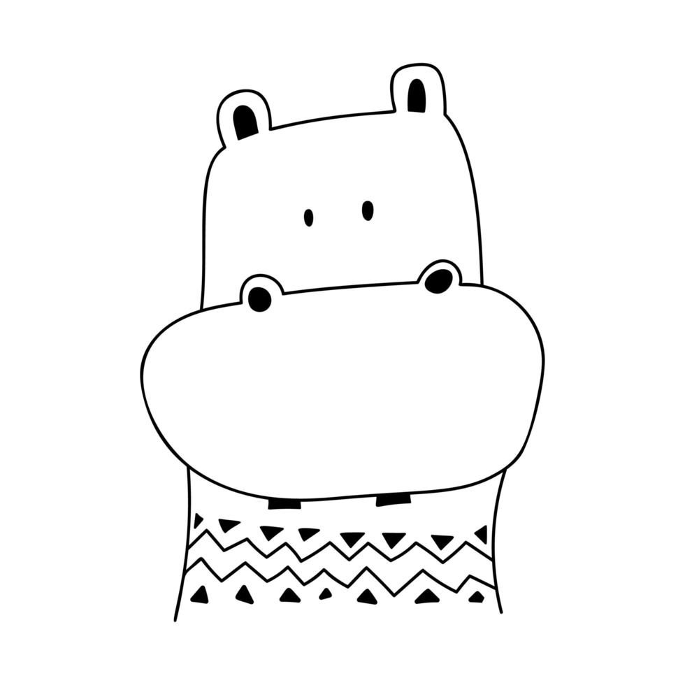 lindo, caricatura, garabato, hipopótamo vector