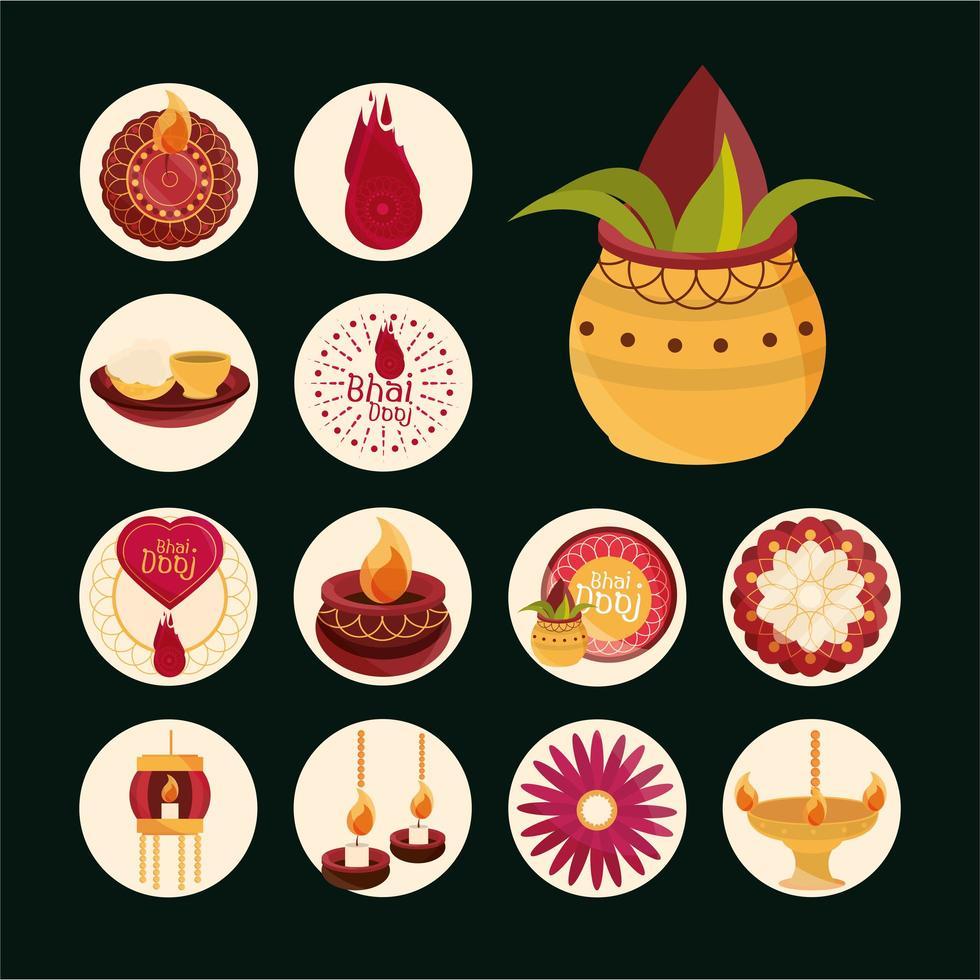 Bhai Dooj celebration icon set vector