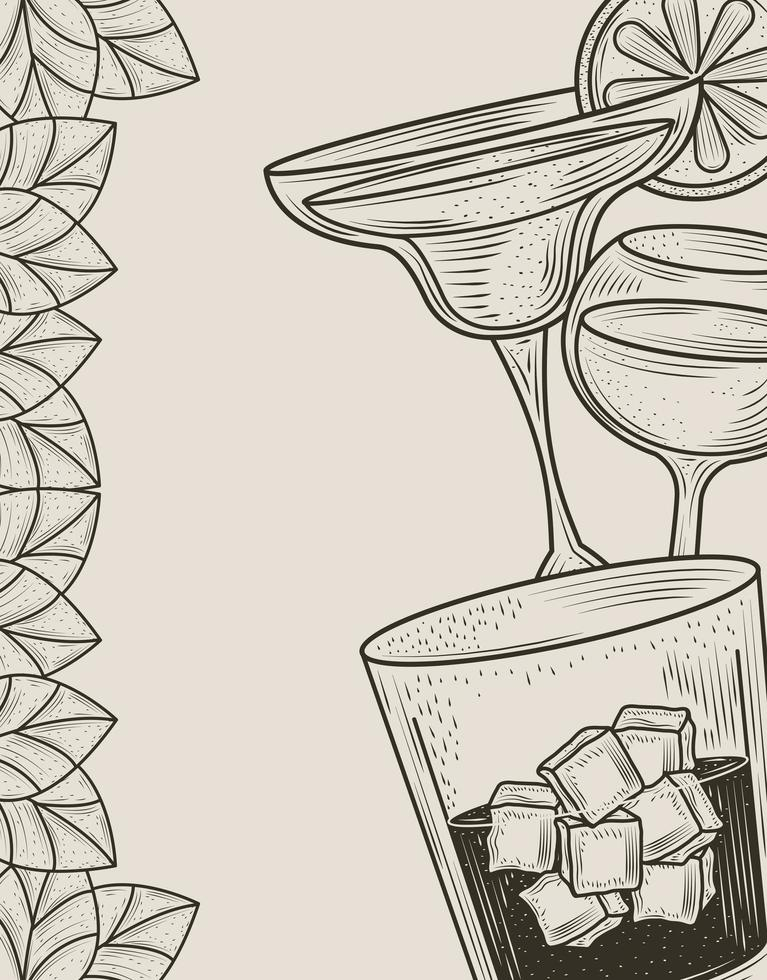 Cocktail drinks line-art composition vector