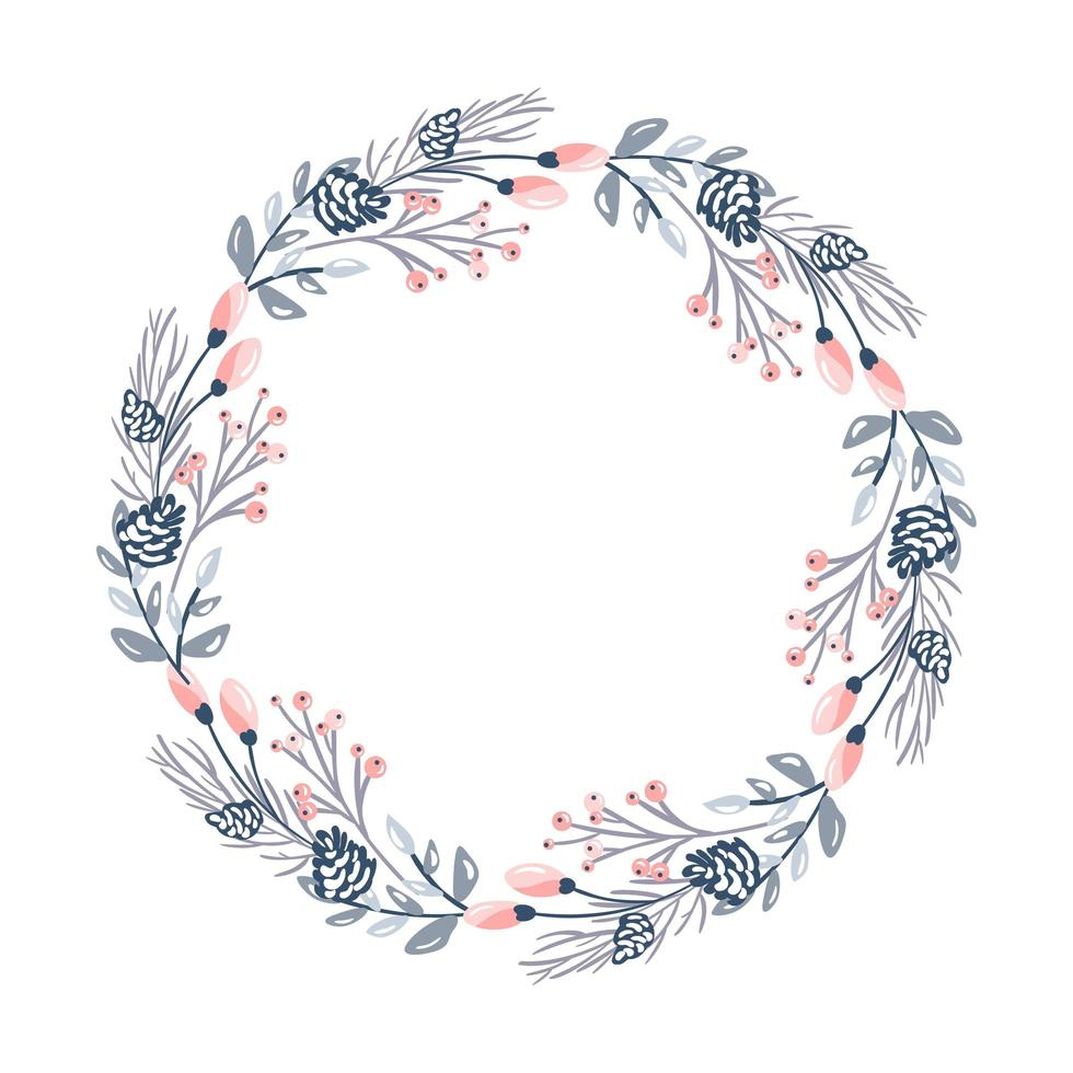 Christmas flower wreath and red berries vector