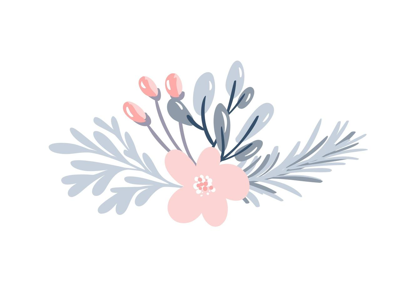 Christmas floral bouquet with berries vector