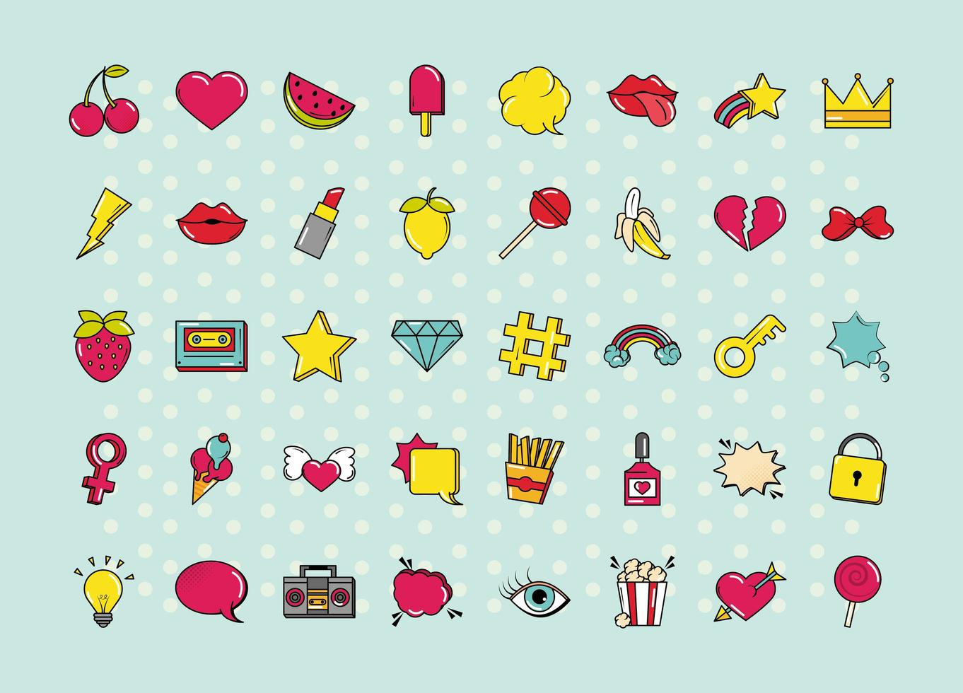 Various pop art, colorful icon set vector
