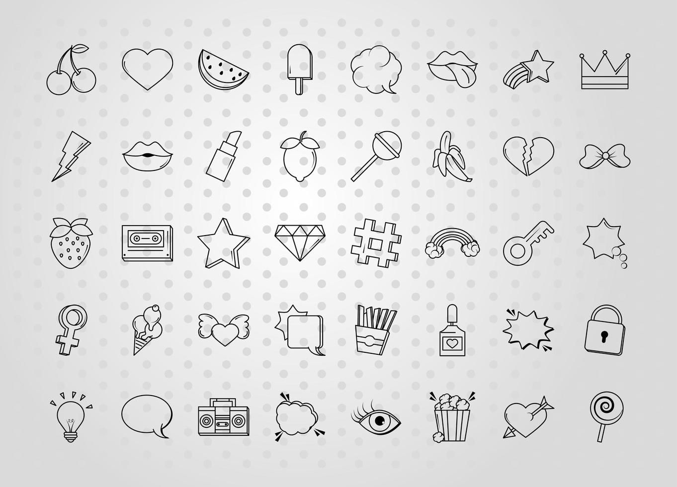 Various pop art icon set vector