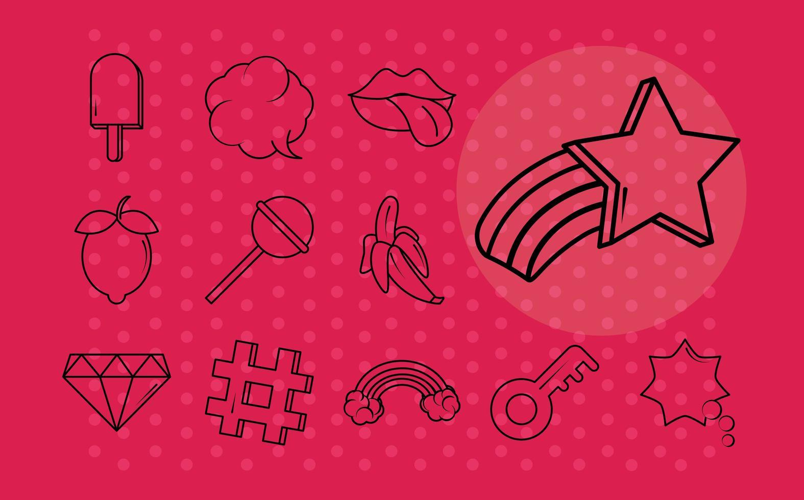 Various pop art icon set vector