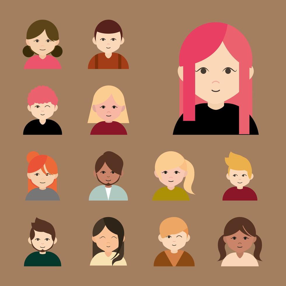 Diverse people, round avatar icon set vector
