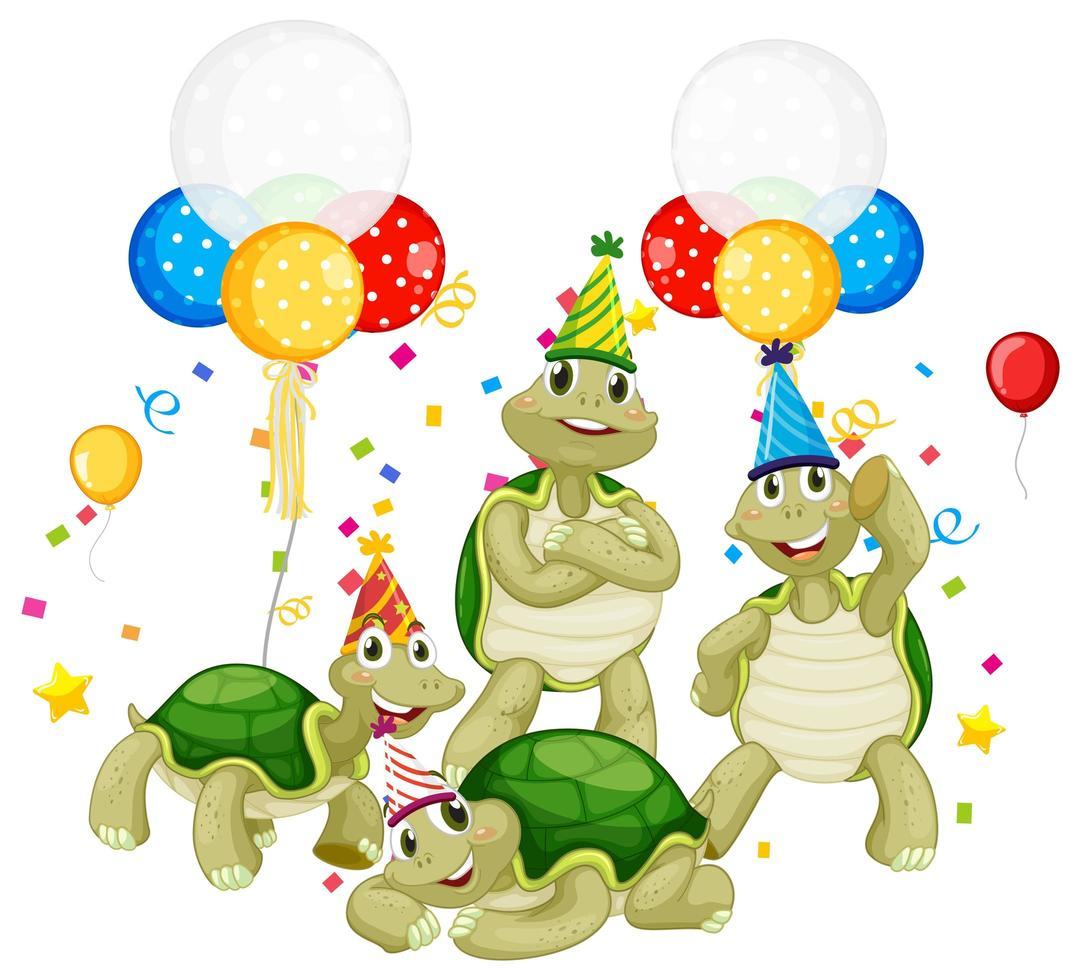 Turtle group in party theme cartoon character vector