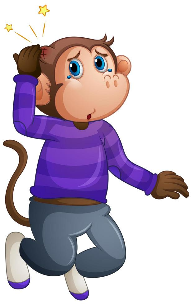 A cute monkey wearing t-shirt cartoon vector