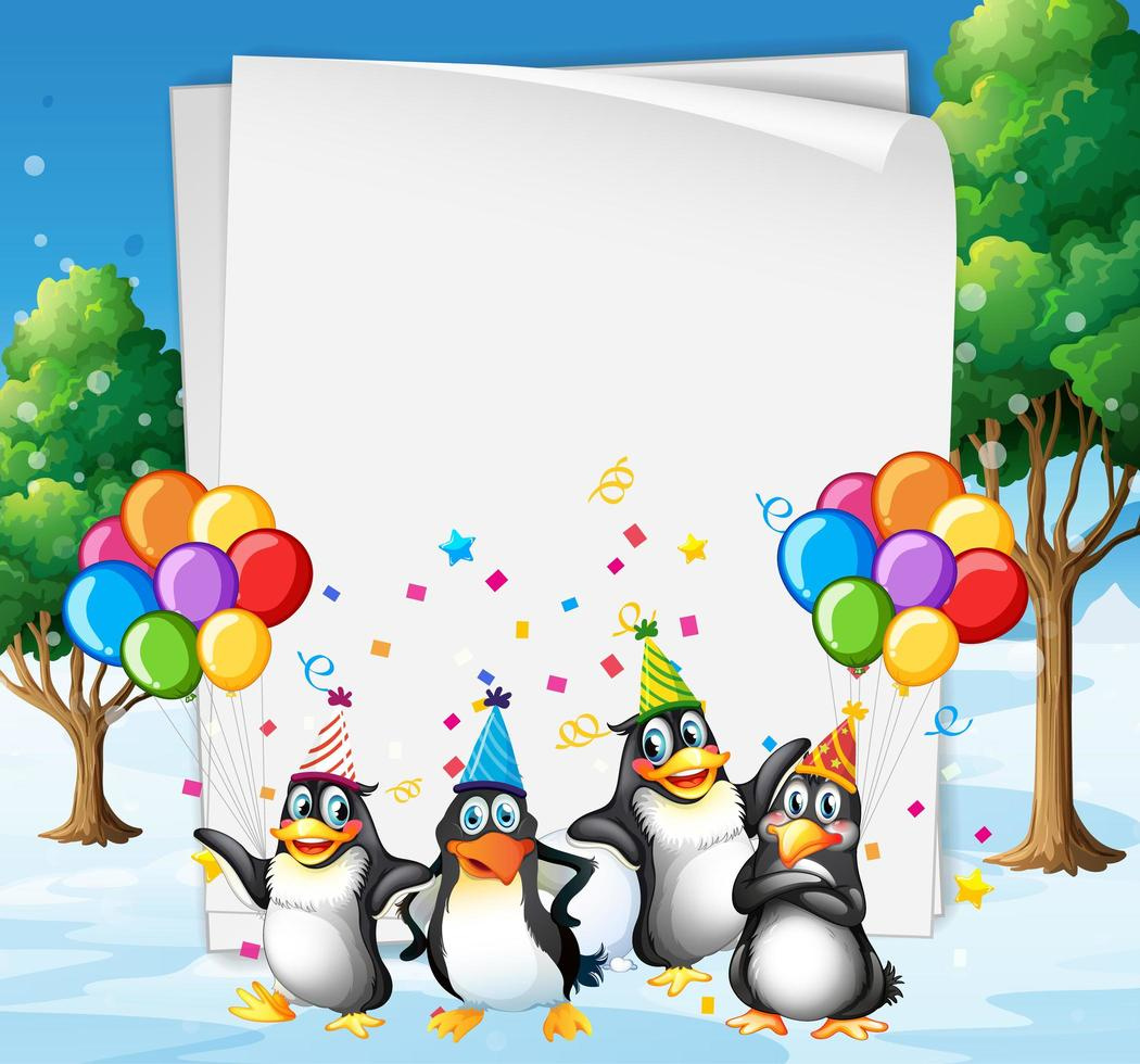 Paper template with cute animals in party vector