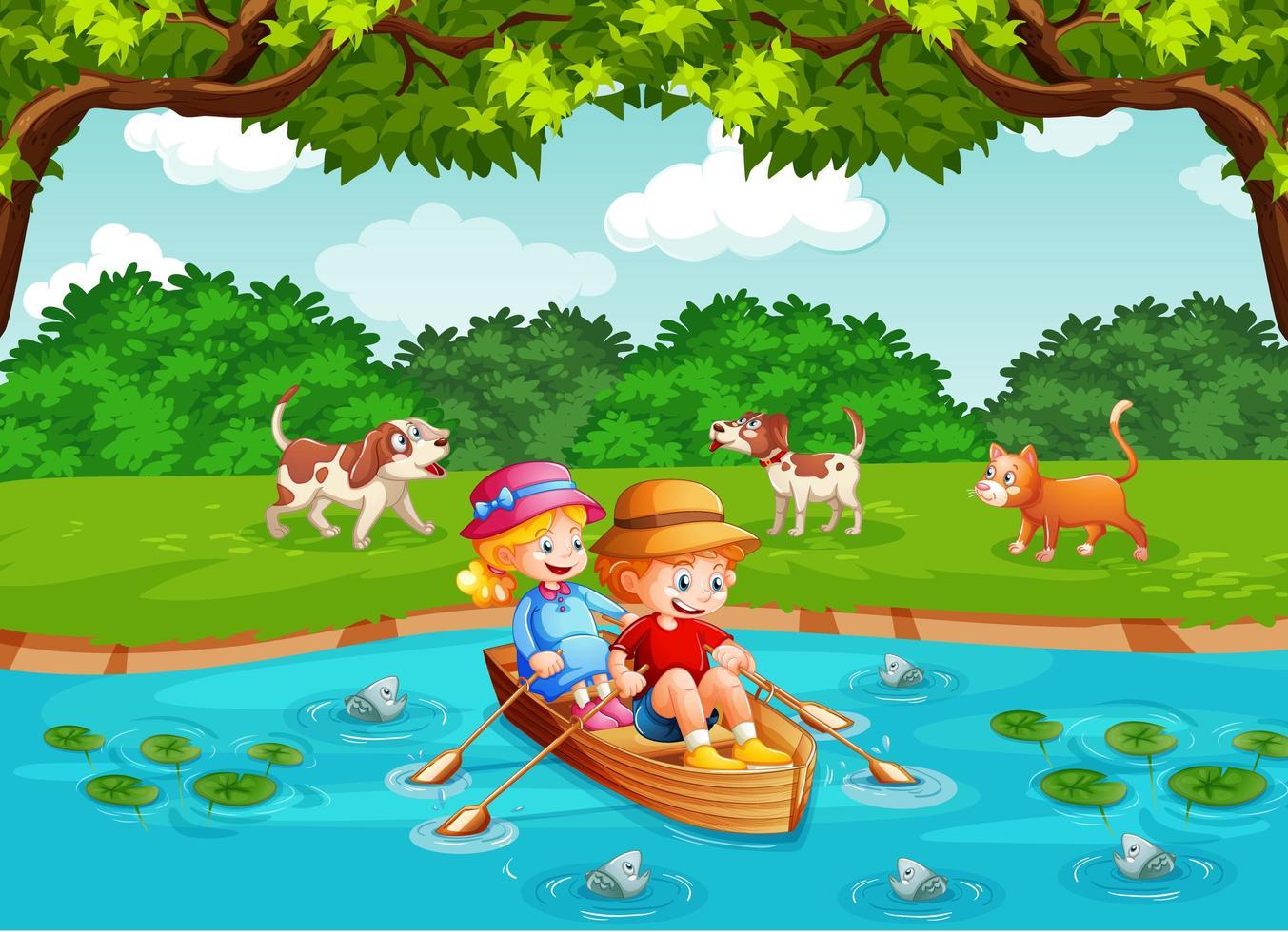 Los niños remar en el bote en el parque del arroyo. vector