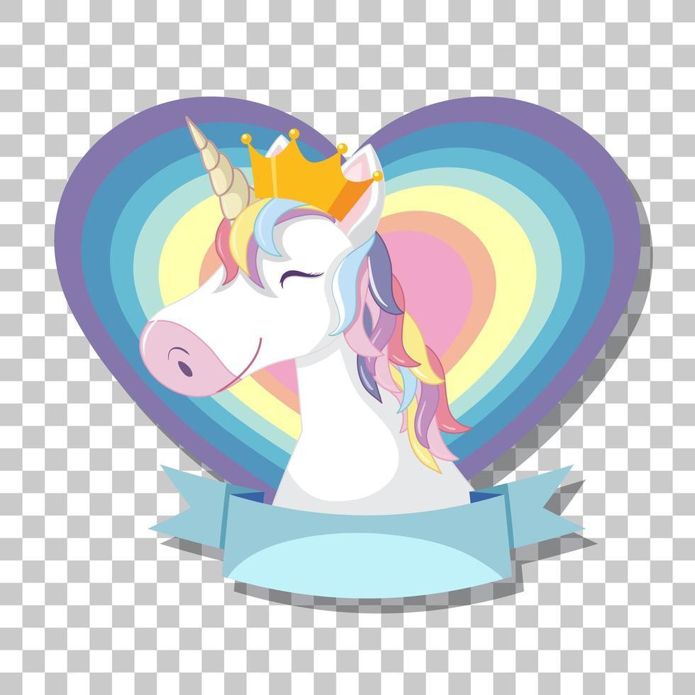 cabeza de unicornio con melena arcoiris en corazón arcoiris vector