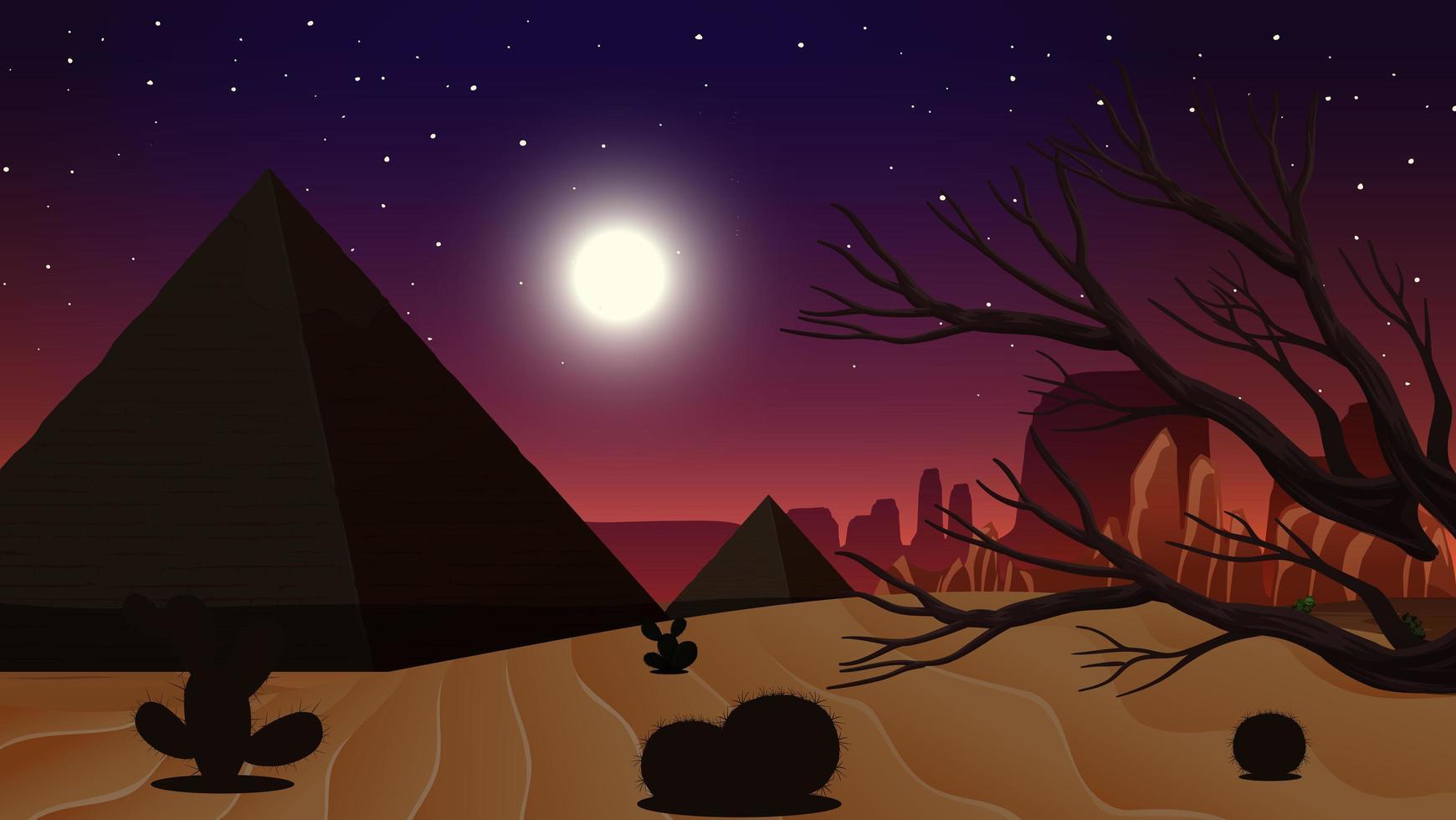 Wild desert landscape at night vector