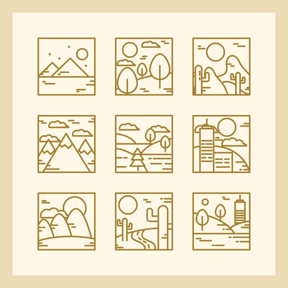 Square landscape outline icon collection vector
