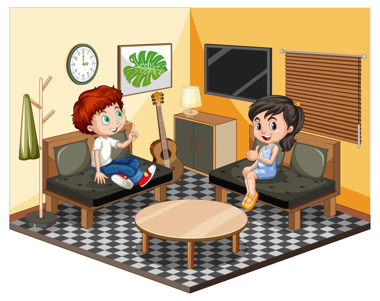 niños en la sala de estar en tema amarillo vector