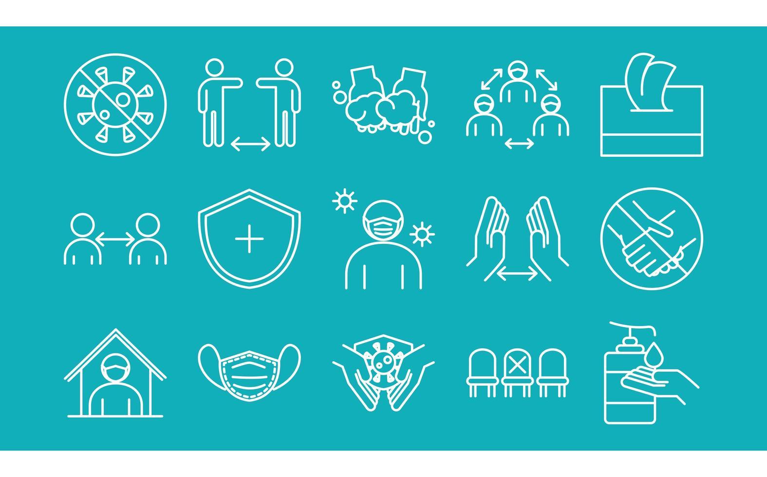 Coronavirus prevention pictogram icon set vector
