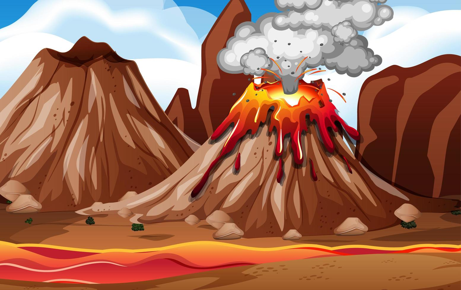 Volcano eruption in nature scene at daytime vector