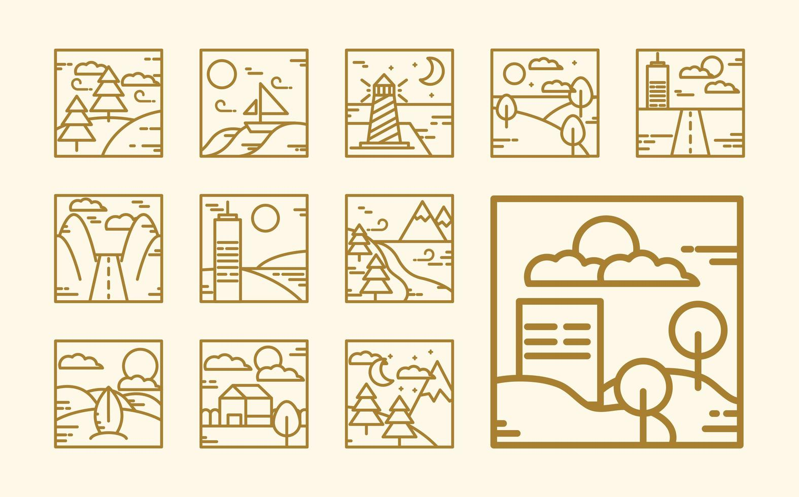 Square landscape outline icon collection vector