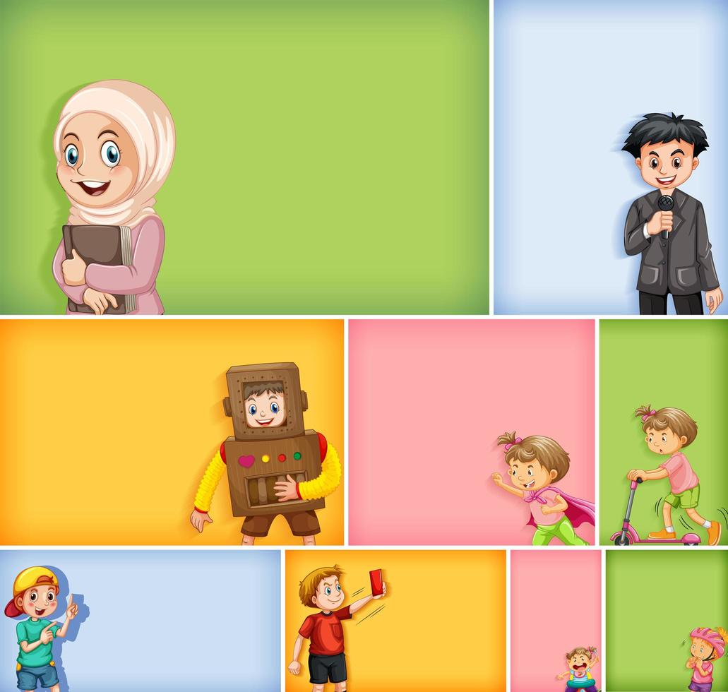 Set of different kids on different color background vector