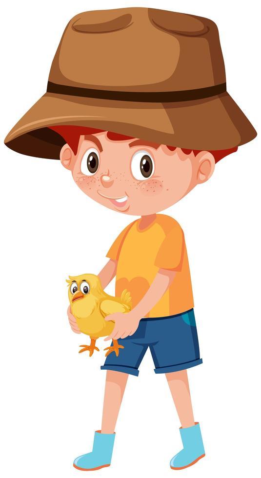 Boy holding cute animal cartoon character vector